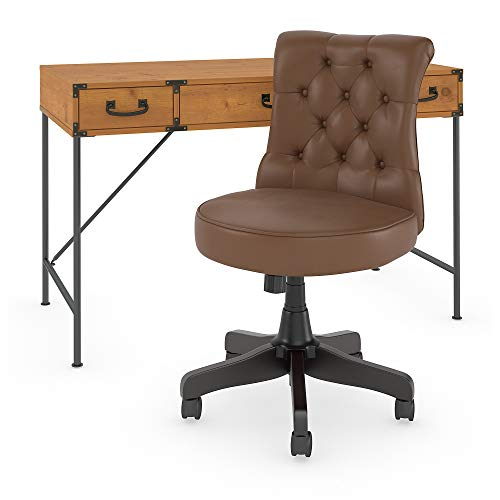 kathy ireland Home by Bush Furniture Ironworks 48W Writing Desk with Mid Back Tufted Office Chair in Vintage Golden Pine