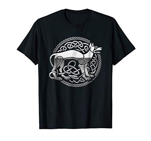 Awesome Silver Celtic Dog Design T Shirt