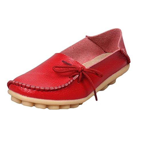 Heheja Mujer Mocasines de Cuero Loafers Casual Piso Zapatos Zapatillas con Bowknot Rojo
