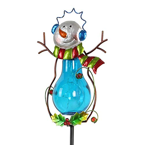 CEDAR HOME Solar Path Light Outdoor LED Garden Stake Wireless Waterproof Landscape Christmas Decoration for Lawn Yard Patio, Blue Snowman
