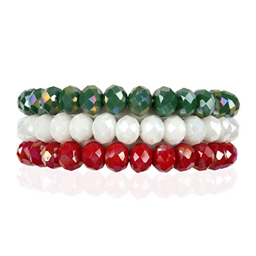 (RIAH FASHION Bohemian Multi-Layer Beaded Stacking Bracelets - Versatile Stretch Strand Sparkly Crystal Beads Statement Wrap Slip-on Cuff Bangle Set (Sparkly Mix - Mexico Flag Iridescent))