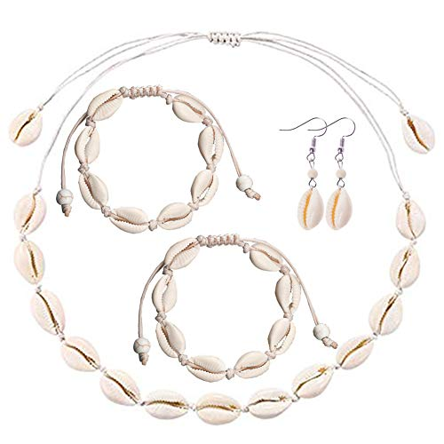 MAXHOPE 5Pack Shell Choker Necklace Bracelet Earrings Anklet Handmade Bohemia Pendant Hawaii Summer Beach Conch Jewelry Set Collar Necklace Adjustable for Girls Women (Necklace Shell Earrings Bracelet)