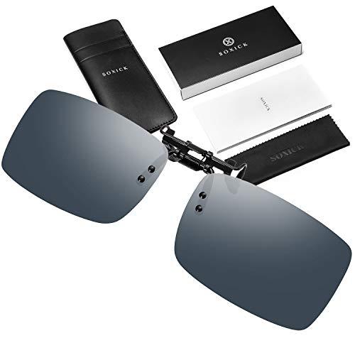 (SOXICK Fashion Inter Brand Clip On Sunglasses for Men Women- Unisex Polarized Flip Up Sunglasses Over Prescription Sunglasses Black 309)