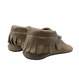 Sayoyo Baby Tassels Soft Sole Leather Infant Toddler Prewalker Shoes (24-36 months, Tan)