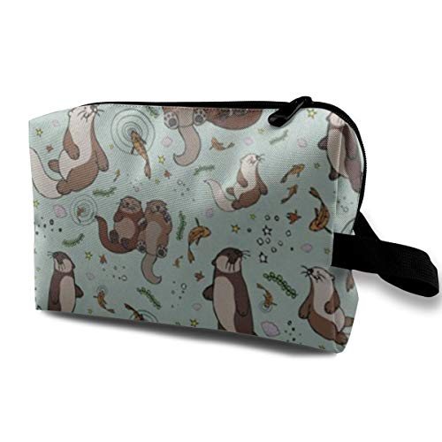 Happy Sea Otter Cosmetic Bags Makeup Organizer Bag Pouch Zipper Purse Handbag Clutch Bag]()