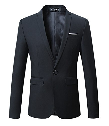 MOGU Mens Slim Fit One Button Casual Blazer Jacket US Size 44 (Label Asian Size 6XL) Black ()