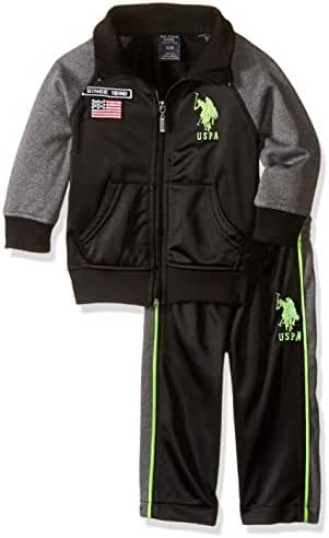 U.S. Polo Assn. Baby-Boys Newborn Tricot Athletic Jacket and Pant with T-Shirt
