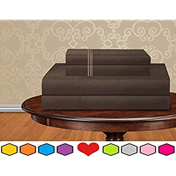 Luxurious Bed Sheets Set on Amazon! Elegant Comfort 1500 Thread Count Wrinkle,Fade and Stain Resistant 5-Piece Bed Sheet Set, Deep Pocket, Hypoallergenic - Split King Chocolate