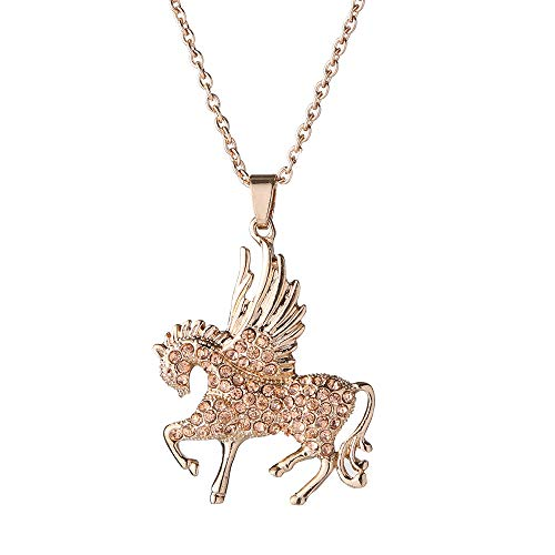 - Charms Enamel Rainbow Horse Pendant Necklace with Earrings Jewelry Sets for Girls (Winged Horse Rose Gold)