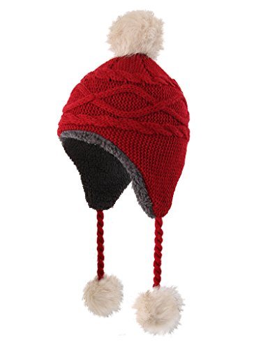 Home Prefer Girls Sherpa Earflaps Hat Kids Winter Hat Cable Knit Pom Beanie Fuzzy Peruvian Hat Red M]()
