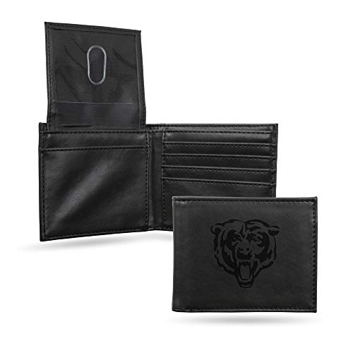 Rico Industries NFL Chicago Bears Laser Engraved Billfold Wallet, Black Bears Tri Fold Wallet