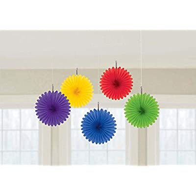 Pretty and Fun Hanging Round Mini Rainbow Fan Party Decoration, Paper , 6