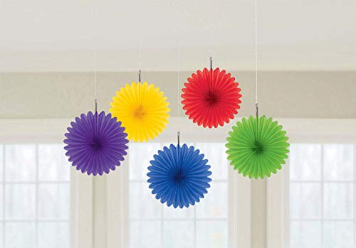 Pretty and Fun Hanging Round Mini Rainbow Fan Party Decoration, Paper , 6, Pack of 5
