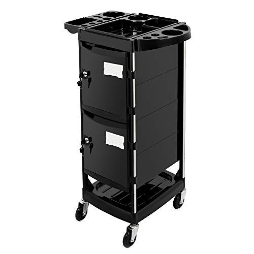 Mefeir Salon Trolley Stylist Cart with 2 Lock 4 Keys, 4 ABS Drawers, Rolling Wheels for Hair Styling, Lockable Beauty Furniture Hairdressing Cabinet Storage Coloring Station (Trolley Roller Cart)