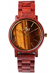 Woody Watch Genuine Tiger Eye Stone Dial Wristwatch with Red Sandalwood Bracelet, Japanese Quartz