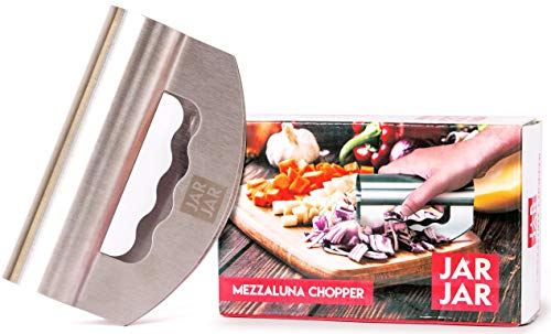 (Fuegos BBQ Mezzaluna Chopper   Multipurpose Knife Made from Stainless Steel   Ideal for Home & Restaurant Kitchens   Easy to Clean Choppers For Slicing Meat, Vegetable, Pizza   15x)