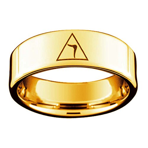 Freemason Rings for Men - Scottish Rite Ring - Gold Color Freemason Ring 14th Degree Grand Elect Mason Symbol - Gold Tungsten Band Masonic Rings (Size 10) Scottish Rite Symbols