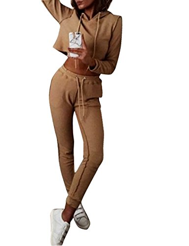 Damen Casual Hoodie Sweatershirt Strickpulli Pullover und Hosen Set
