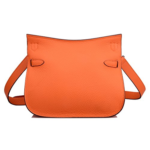 Orange With Satchel Women's Ainifeel Silver Genuine Bag Messenger Padlock Hardware Leather v6604wq