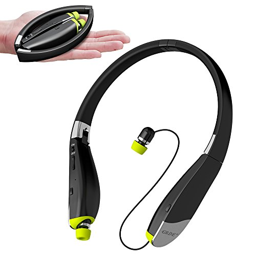 Bluetooth Headset, Wireless Headphones-Ayyie [30 Hrs Playtime ] Wireless Neckband Design Tri-Foldable Retractable Headset Compatible for iPhone X/8/7 Plus Samsung Galaxy S9 Note 8 and Other Smartphone