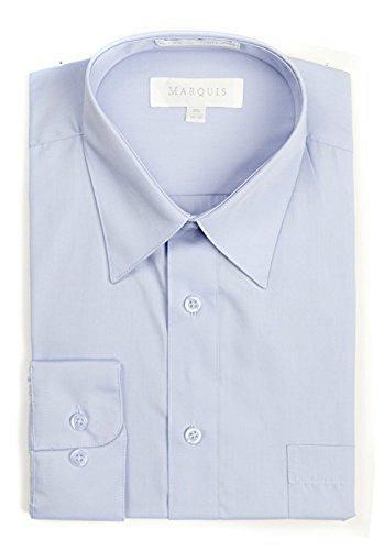 Marquis Mens Classic Fit Solid Light Blue Cotton Blend Dress Shirt