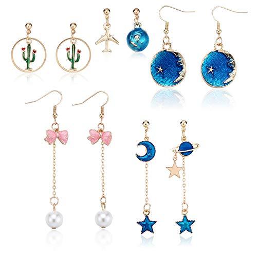 JOVIVI 5 Pairs Moon Star Earth Planet Asymmetrical Drop Hook Earrings Long Pendant Dangle Jewelry for Woman Girls