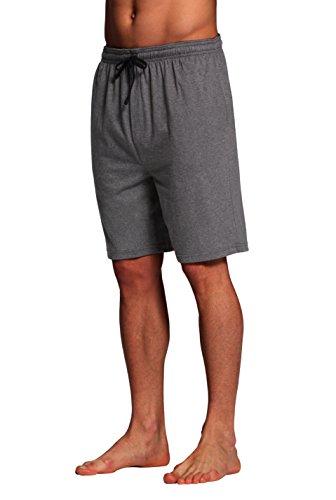 CYZ Men's Sleep Shorts - 100% Cotton Knit Sleep Shorts & Lounge Wear-Charcoal-L ()