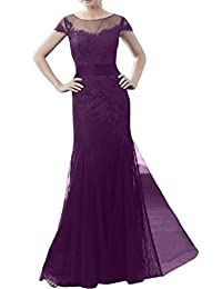 Gorgeous Bridal A-line Cap Sleeves Lace Mother of the Bride Evening Dresses