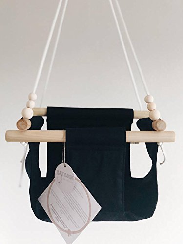 Indoor/Outdoor Black/Monochrome Fabric Baby Swing by Sweet Swinging