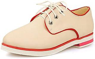 NJX/ Chaussures Femme - Bureau & Travail / Habillé - Noir / Rose / Beige - Talon Plat - Bout Arrondi - Richelieu - Similicuir beige-us10.5 / eu42 / uk8.5 / cn43 MKJMK