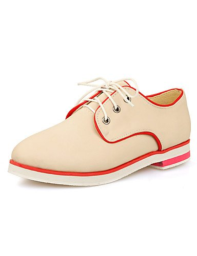Eu42 De 5 5 Tacón Zapatos us6 7 Cn43 Rosa Semicuero Punta Trabajo Eu37 Negro Mujer 5 5 5 us10 Oxfords Oficina Vestido Plano Uk8 Zq Uk4 Beige Y Redonda Beige Cn37 Pink Hx5qnCwHU