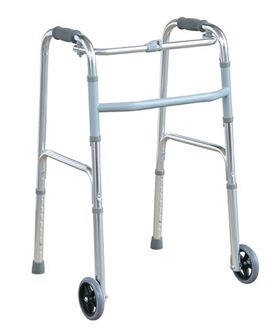 """- Deluxe Folding Walker with 5"""" Front Wheels Height Adjustable One Button Release by Tulimed"""