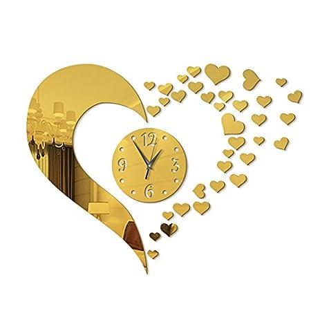 Amazon.com: Love Heart Shape Wall Clock Stickers,DIY Art Large Size ...