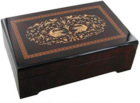 Caja de música para joyas / joyero musical de madera con calcomanías
