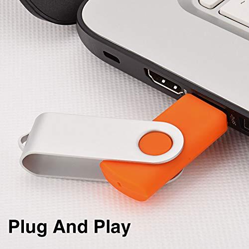 Kootion 10 Pack 2GB Flash Drive 2gb USB Flash Drive Thumb Drive Memory Stick Swivel Pen Drive Keychain Design Orange