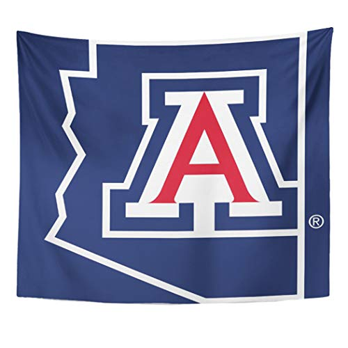 Semtomn Tapestry Artwork Wall Hanging Blue Wildcats University of Arizona State Red Zonazoo College 50x60 Inches Home Decor Tapestries Mattress Tablecloth Curtain Print ()