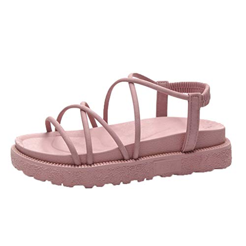 Thick-Bottomed Muffin with Fish Mouth Sandals Cross Straps Open Toe Roman Shoes Fashion Summer Elastic Band Sandals MEEYA Pink