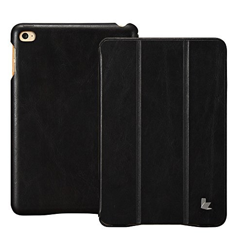 Jisoncase iPad Mini 4 Case, Leather Ultra Slim Smart-Shell Stand Cover Case with Auto Wake/Sleep for Apple iPad Mini 4 in Ash Black(JS-IM4-01A10)