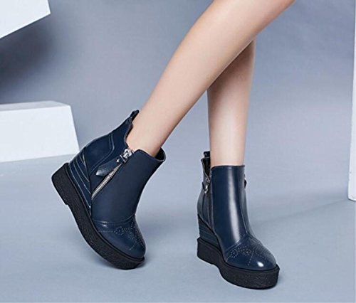 sistema autunno signore del tallone Caricamenti delle del cavallo del blue 38 di nuove donne strizzante scarpe delle Boots delle calde calzature inverno Martin delle deep 34 UPqaPCw75
