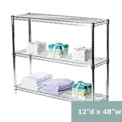 12 Wire Shelving   Amazon Com 12 D X 48 W Chrome Wire Shelving With 3 Shelves Kitchen