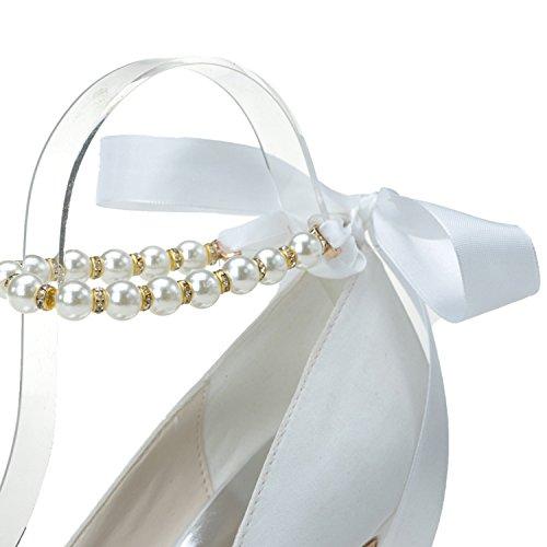 Knöchel Schnürschuhe Hochzeitsfeier Qingchunhuangtang Pumps Kabelbinder Frauen Toe Satinbänder FRxn5qAn1