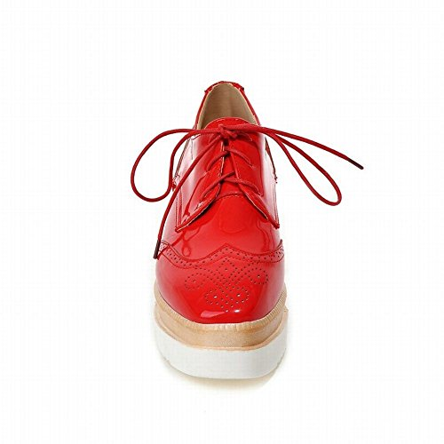 Lucksender Womens Fashion Platform Wedge Heel Lace-up Carved Oxfords Shoes Red