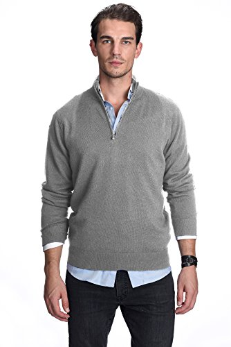 State Cashmere Men's 100% Pure Cashmere Pullover Half Zip Mock Neck Sweater (X-Large, Heather Grey) (Mock Neck Sweater Zip Half)