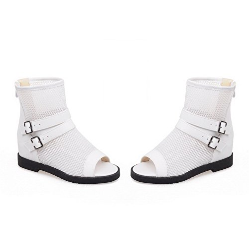 Allhqfashion Womens Kitten Hakken Stevige Rits Open Teen Sandalen Wit