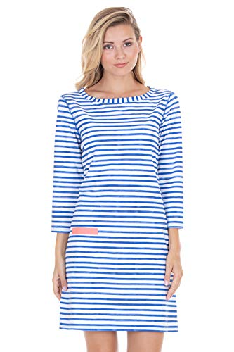 Cabana Life Women's Signature Boat Neck 3/4 Sleeve Tunic Swim Cover Up Blue/White/Orange ()