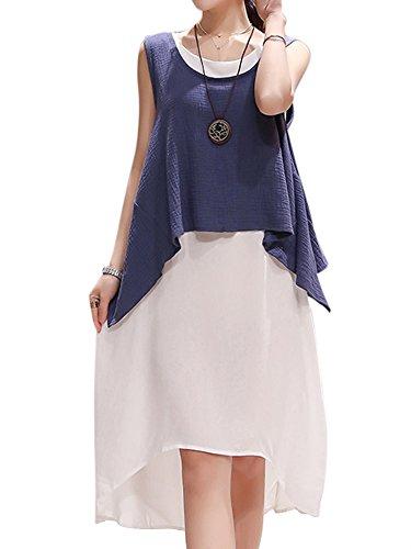 Donne Vestito Puro Di Due Di Colore Bassa Di Marina Cotone Biancheria Eleganti Pezzi Alta qt0Ort