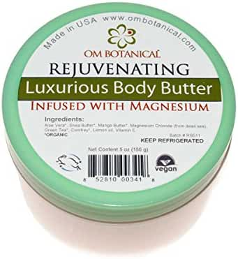 Dead Sea Magnesium Organic Body Butter Rejuvenating Moisturizing Body Lotion, Sleep Aid, Topical Relief from Cramps, Migraines, Restless Legs, Fatigue. Insomnia.with Mango Butter, Shea Butter Aloe