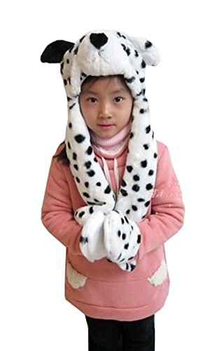 Tonwhar Cartoon Animal Hood Hoodie Hat with Attached Scarf and Mittens (Spotted Dog)