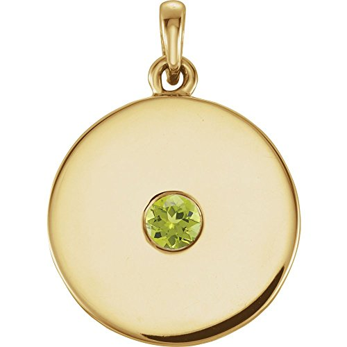 (Jewels By Lux 14K Yellow Gold Peridot Disc Pendant)