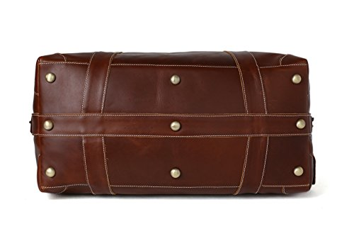 ROCKCOW Reddish Brown Top Grain Leather Travel Duffle Bag Men Shoulder Bag Holdall Bag by ROCKCOW (Image #3)